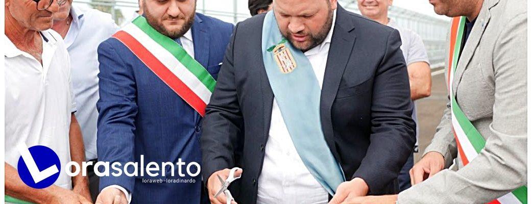 """Taglio del nastro oggi del cavalcaferrovia sulla Nardò-Galatone. Minerva: """"A compimento opere pubbliche di fondamentale importanza""""-video"""